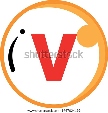 Roman numerals series, a vector of the Roman number five which is represented by the symbol V. Great for learning roman number symbols or icons Stock fotó ©