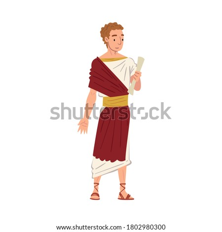 Roman Senator in Traditional Clothes, Ancient Rome Citizen Character in White and Red Tunic And Sandals Vector Illustration Foto stock ©