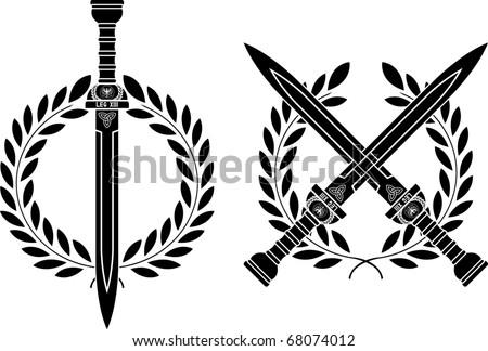 roman swords and wreath vector