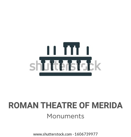 Roman theatre of merida glyph icon vector on white background. Flat vector roman theatre of merida icon symbol sign from modern monuments collection for mobile concept and web apps design.