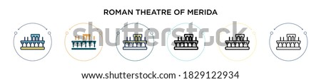 Roman theatre of merida icon in filled, thin line, outline and stroke style. Vector illustration of two colored and black roman theatre of merida vector icons designs can be used for mobile, ui, web
