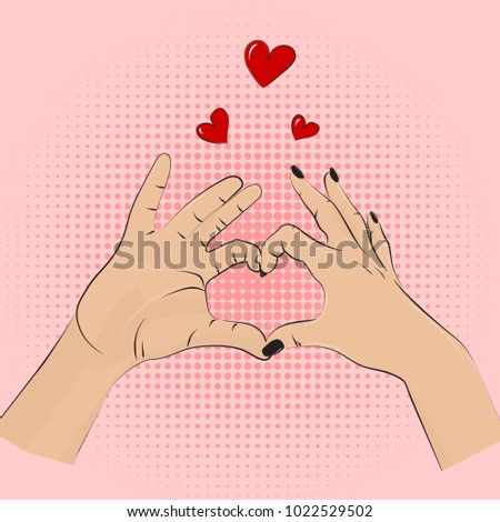 Romance gesture sign. Vector pop art style women men hands showing love. Romantic greeting wedding, dating symbolic. Partnership heart lifestyle concept