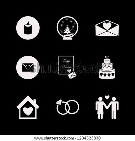 romance icon. romance vector icons set heart envelope, house heart, cake wedding and candle