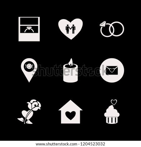 romance icon. romance vector icons set wedding rings, heart envelope, candle and house heart
