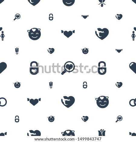 romance icons pattern seamless white background. Included editable filled heart with wings, heart search, rose, emot in love, heart lock icons. romance icons for web and mobile.