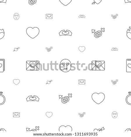 romance icons pattern seamless white background. Included editable line heart tag, emot in love, heart with arrow, heart, love letter icons. romance icons for web and mobile.