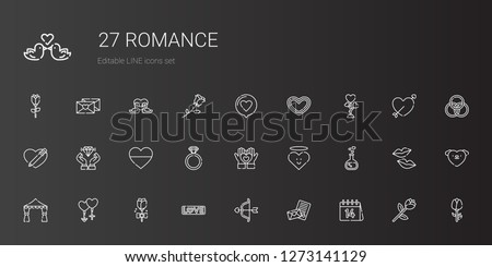 romance icons set. Collection of romance with valentines day, love letter, cupid, love, rose, couple, wedding arch, love potion, heart, engagement ring. Editable and scalable romance icons.