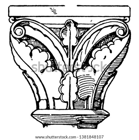 Romanesque Capital, is found in cloisters of a church, a simpler design, reminiscent of the Antique style, vintage line drawing or engraving illustration.