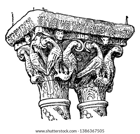 Romanesque Capitals, from the cloister of Monreale near Palermo, several traditions of architecture including Classical architecture, vintage line drawing or engraving illustration.