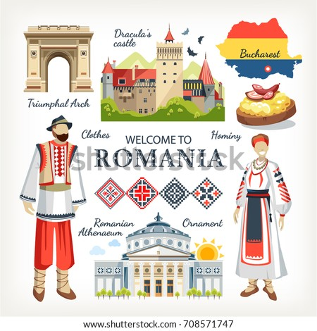 Romania collection of traditional objects symbols of country architecture food clothes