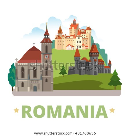 Romania country magnet design template. Flat cartoon style historic sight showplace web vector illustration. World vacation travel Europe European collection.Drakula's Corvin Castle Biserica Neagra.