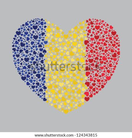 Romania flag in heart shape