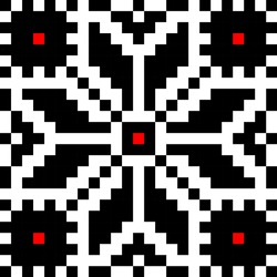 Romanian embroidery element in black and white with red