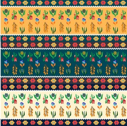 Romanian ethnic folk flower pattern. Different color variations.
