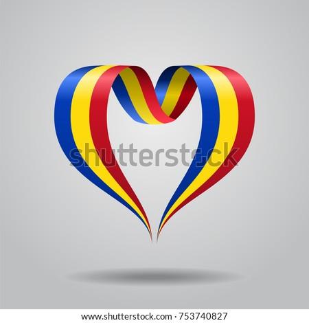 Romanian flag heart-shaped wavy ribbon. Vector illustration.