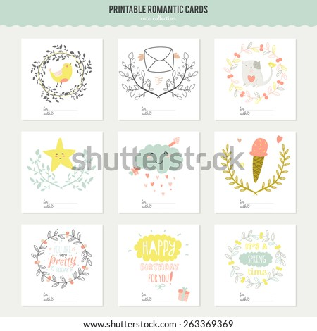 Romantic and love cards notes stickers labels tags with Spring illustrations Template for scrapbooking wrapping congratulations invitations Lovely vector wishes with cute animals and sweets