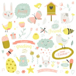Romantic and lovely print illustration with Spring elements and cute background. Template for scrapbooking, wrapping, notebooks, diary, decals, school accessories