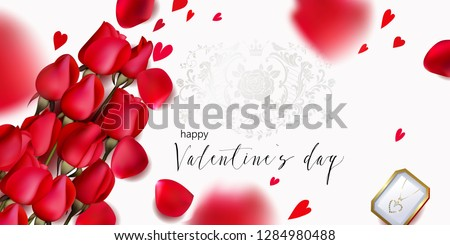 Romantic backgrond for St.Valentine`s day  with red roses