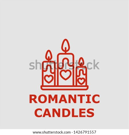Romantic candles symbol. Outline romantic candles icon. Romantic candles vector illustration for graphic art.