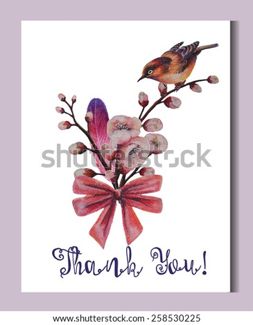 Romantic card design template. Spring illustration. Cherry blossoms  bouquet.