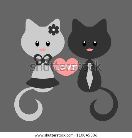 Romantic card with kitty girl and kitty boy