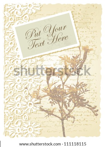 romantic card with tagetes