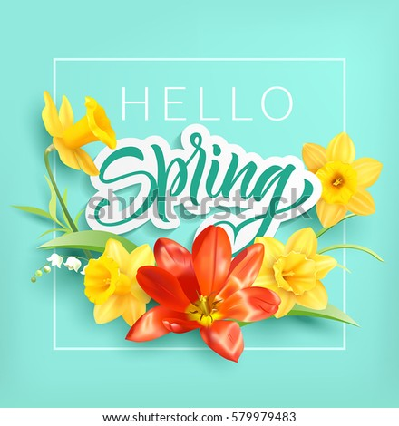 Romantic card with tulips, daffodils and spring greeting. Vector illustration.
