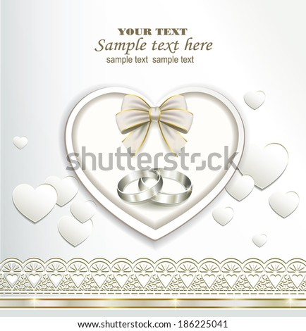 romantic card with wedding rings