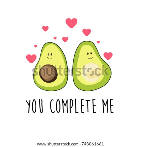 Romantic cartoon avocado characters with hearts and love message, vector illustration