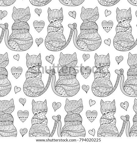 romantic cats seamless pattern