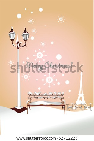 Romantic Christmas Card, winter bench in the park