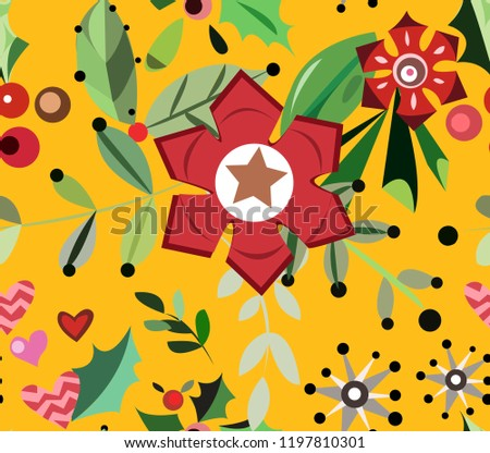 romantic christmas or valentine pattern with flowers and berries exotic christmas texture with hearts and