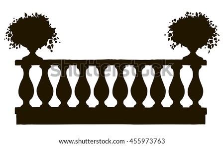 Romantic classic outdoor elegant newel bannister with bloom petunia in old bowl on luxury patio with space for text on sky. Freehand black ink drawn picture background sketch in art engraving style