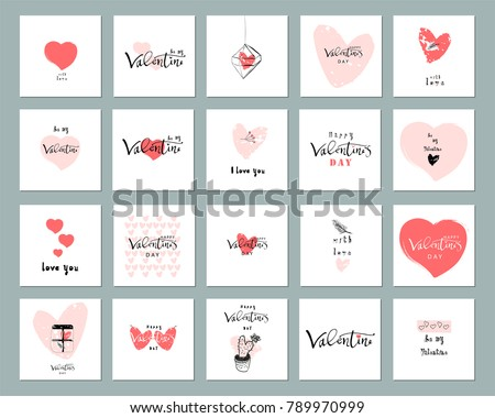 Romantic Collection of Cute Hand Drawn Abstract Valentine's Day Cards. Trendy backgrounds for greeting cards, headers, invitations, gift paper, posterts, banners, brochures, web. Vector Illustrations