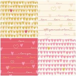 Romantic collection of cute patterns. Set of backgrounds with love words and hearts. Love note. Wedding invitation