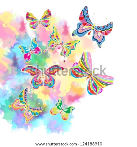 Romantic colorful background with butterfly, illustration with place for text, vector
