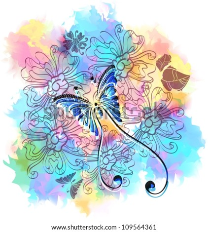Romantic colorful floral background with butterfly, vector illustration