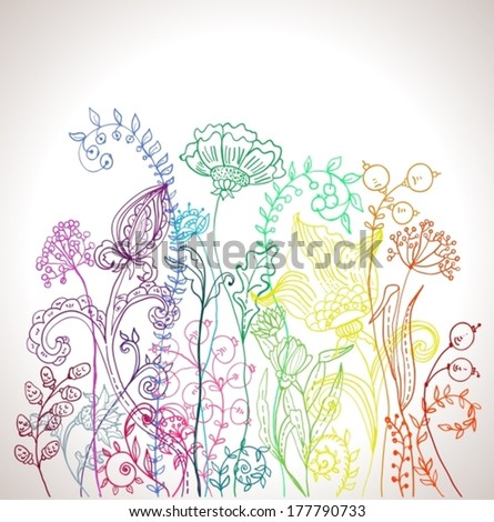 Romantic colorful flower background, natural doodle illustration, VECTOR