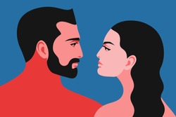 Romantic concept. Couple in love. Portraits of two lovers in profile, man and woman, face to face, close-up. Vector illustration