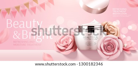 Romantic cosmetic cream banner ads with paper roses on bokeh pink background in 3d illustration