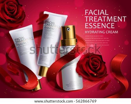 Romantic cosmetic set, beautiful red roses and ribbons isolated on red background in 3d illustration, glitter atmosphere