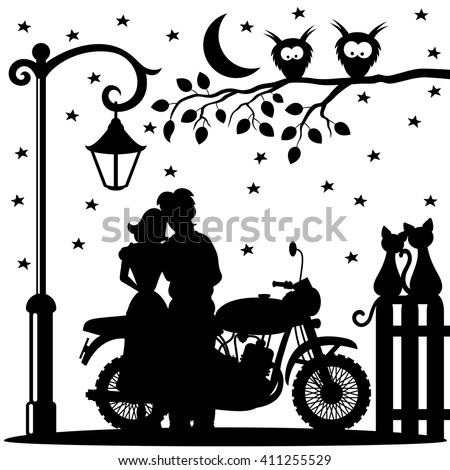 romantic couple  bike  two cats