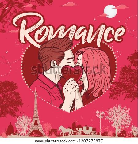 Romantic couple having romance in Paris