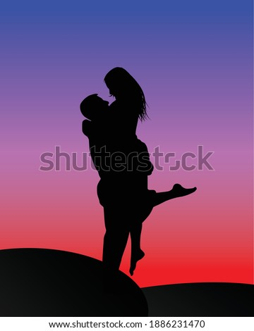 romantic couple hugging with