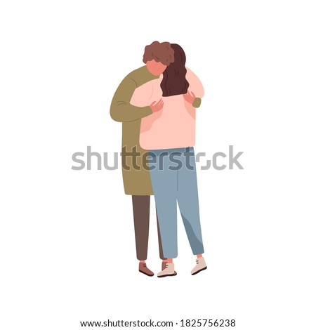 Romantic couple in love cuddling on date. Young boyfriend and girlfriend embracing. Scene of romance or tenderness. Lovers hugging. Flat vector cartoon illustration isolated on white. Stockfoto ©