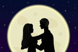 Romantic couple in love embrace in the moonlight. Silhouettes of woman and men. Full moon and stars in the background. Vector illustration
