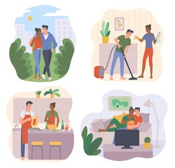 Romantic couple joint pastime scenes set with men and women bonding their love relationships with joint leisure, flat vector illustration isolated on white background.
