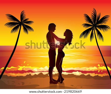 romantic couple kissing  sunset