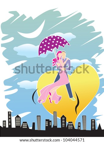 Romantic Couple, Night in the City, Yellow Heart, vector illustration