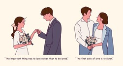 Romantic couple. Proposing in a dress. hand drawn style vector design illustrations.
